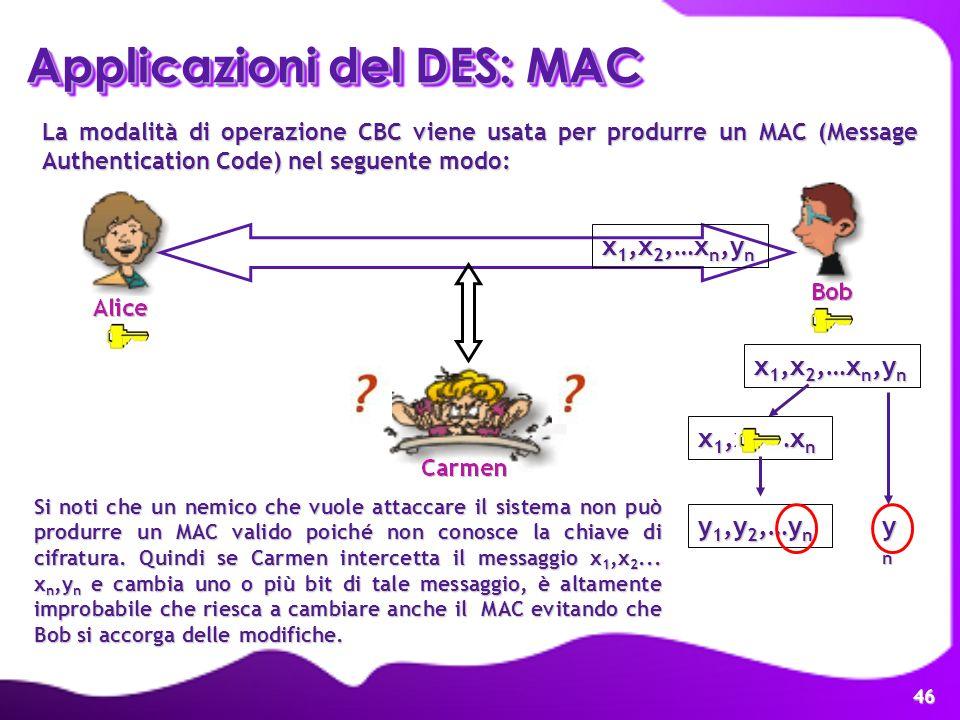 Applicazioni del DES: MAC