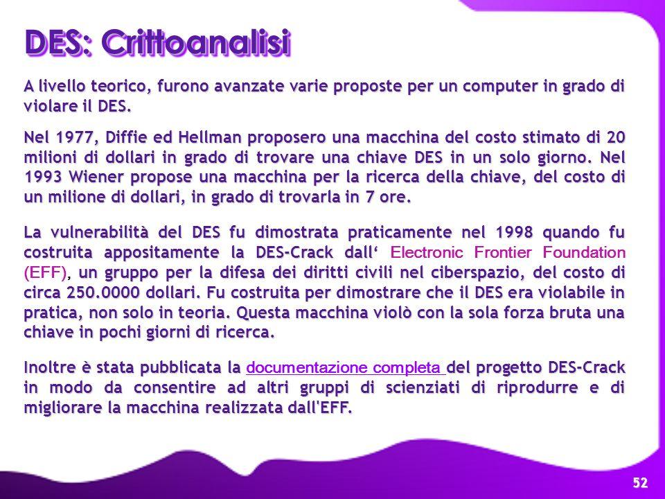 DES: Crittoanalisi A livello teorico, furono avanzate varie proposte per un computer in grado di violare il DES.