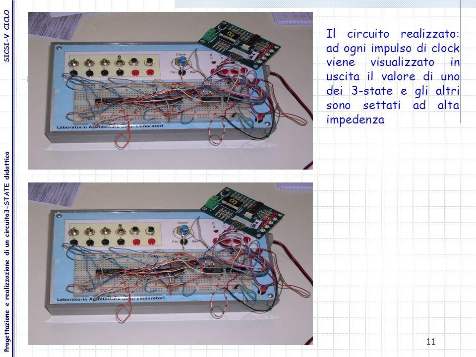 Il circuito realizzato: ad ogni impulso di clock viene visualizzato in uscita il valore di uno dei 3-state e gli altri sono settati ad alta impedenza