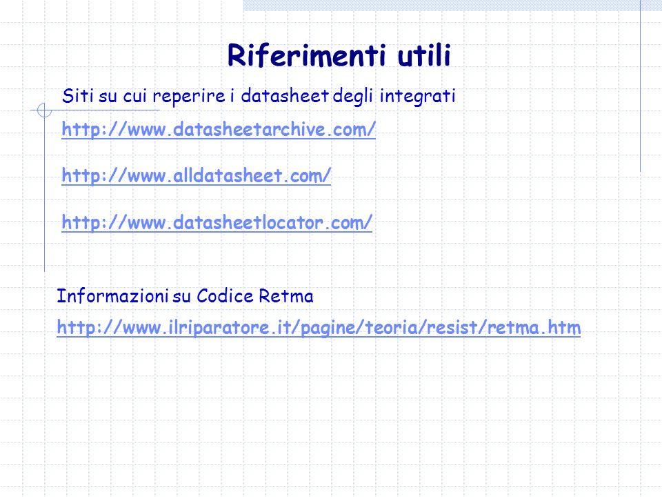 Riferimenti utili Siti su cui reperire i datasheet degli integrati