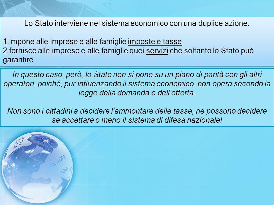 Lo Stato interviene nel sistema economico con una duplice azione: