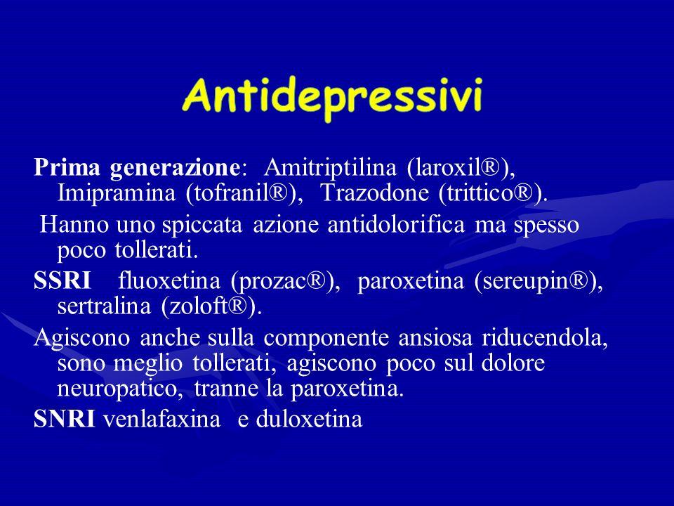 Antidepressivi Prima generazione: Amitriptilina (laroxil®), Imipramina (tofranil®), Trazodone (trittico®).