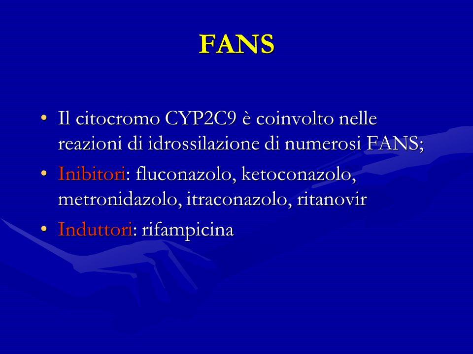 FANS Il citocromo CYP2C9 è coinvolto nelle reazioni di idrossilazione di numerosi FANS;