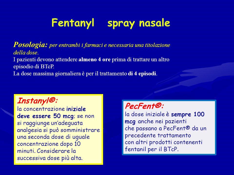 Fentanyl spray nasale Posologia: per entrambi i farmaci e necessaria una titolazione della dose.