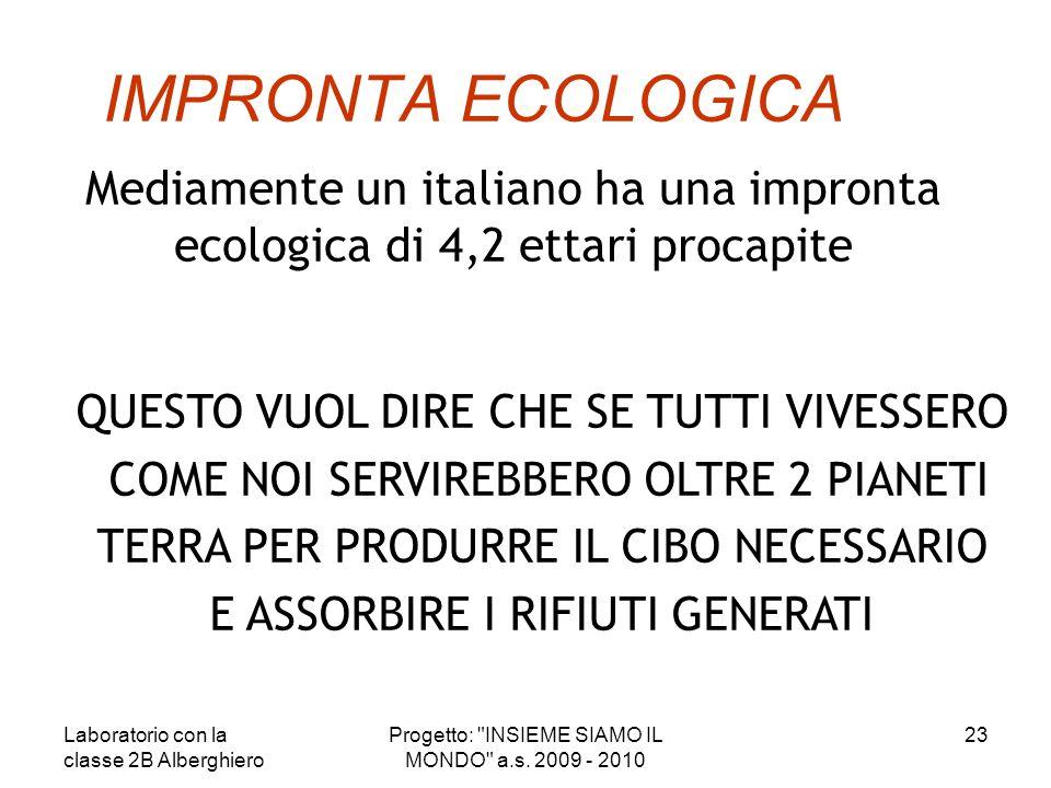 IMPRONTA ECOLOGICA Mediamente un italiano ha una impronta ecologica di 4,2 ettari procapite. QUESTO VUOL DIRE CHE SE TUTTI VIVESSERO.