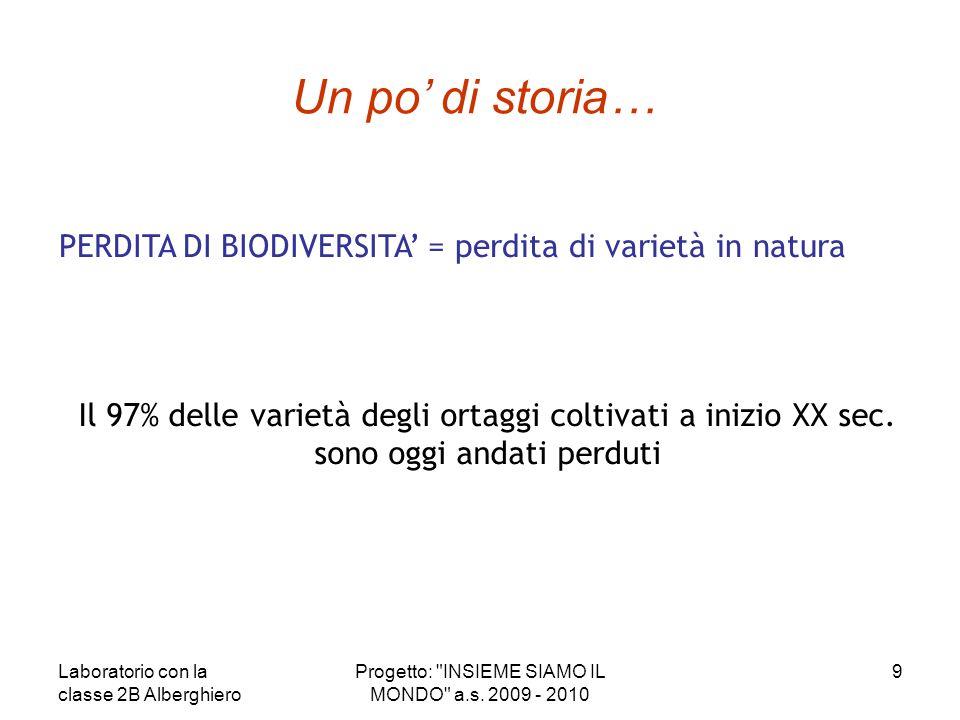 Un po' di storia… PERDITA DI BIODIVERSITA' = perdita di varietà in natura. Il 97% delle varietà degli ortaggi coltivati a inizio XX sec.
