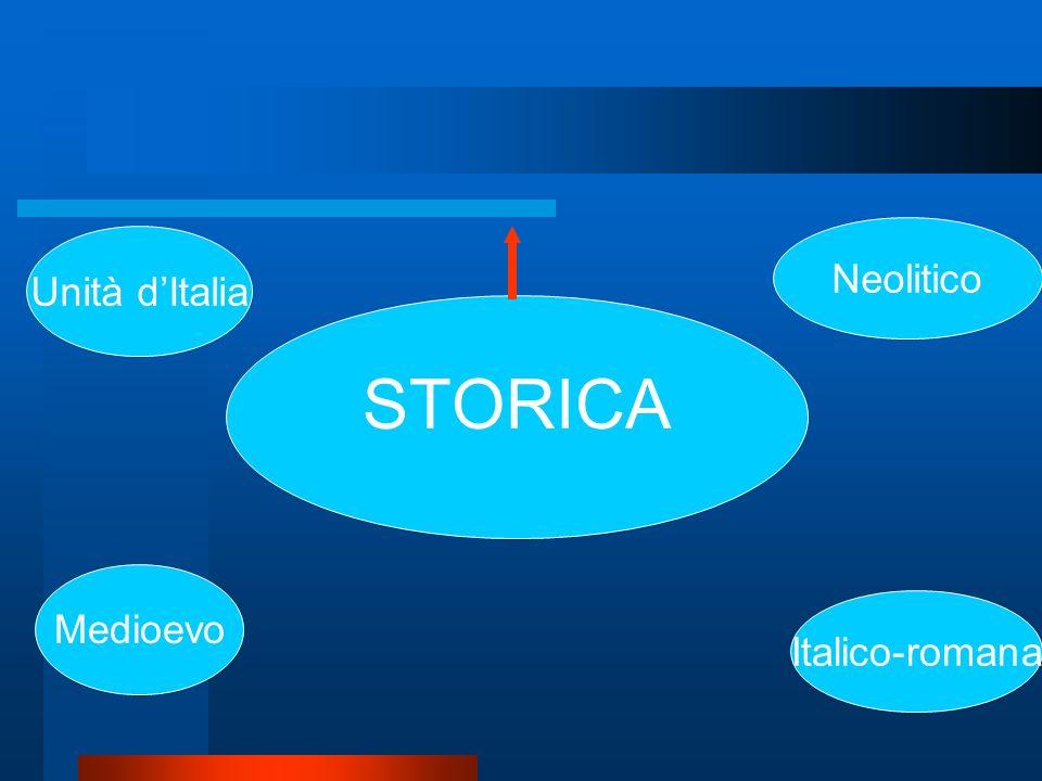 Neolitico Unità d'Italia Neolitico STORICA Italico-romana Medioevo