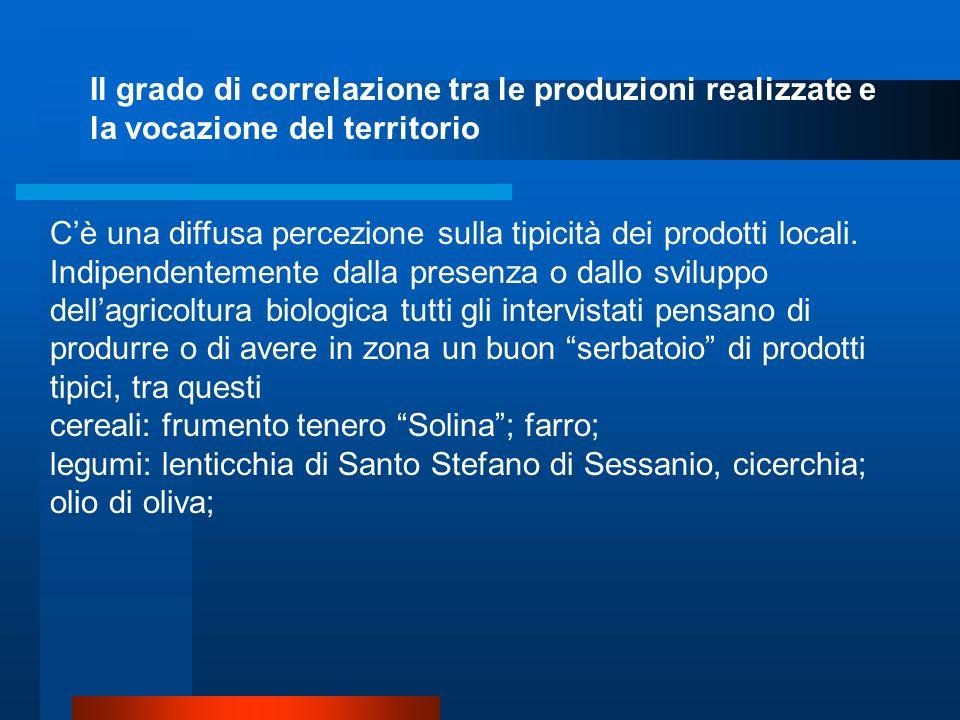 Il grado di correlazione tra le produzioni realizzate e la vocazione del territorio