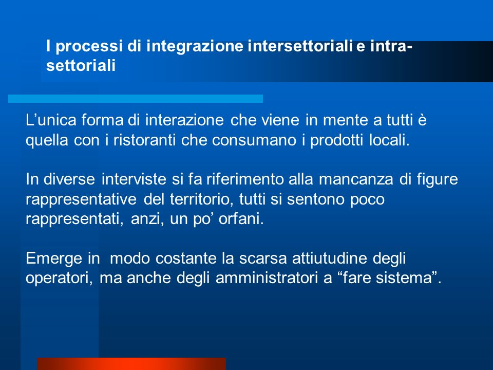 I processi di integrazione intersettoriali e intra-settoriali