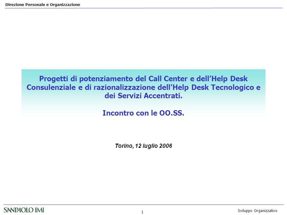 Progetti di potenziamento del Call Center e dell'Help Desk Consulenziale e di razionalizzazione dell'Help Desk Tecnologico e dei Servizi Accentrati. Incontro con le OO.SS.