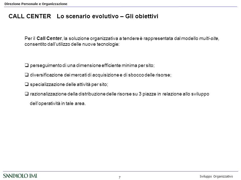 CALL CENTER Lo scenario evolutivo – Gli obiettivi