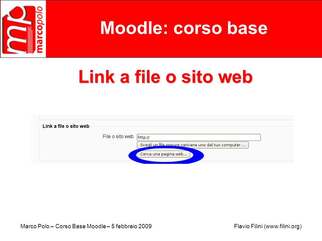 Moodle: corso base Link a file o sito web