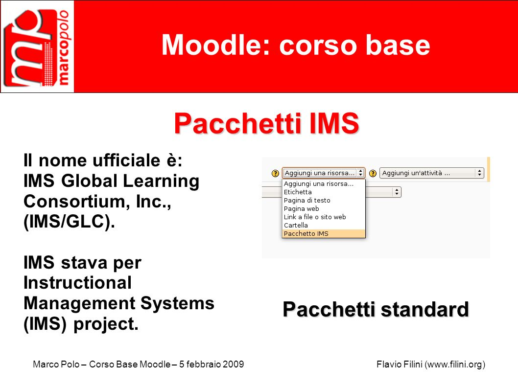 Moodle: corso base Pacchetti IMS