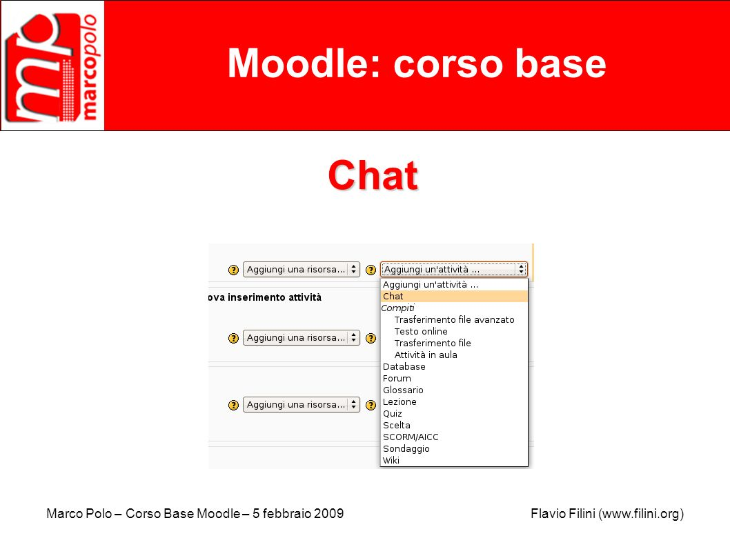 Moodle: corso base Chat