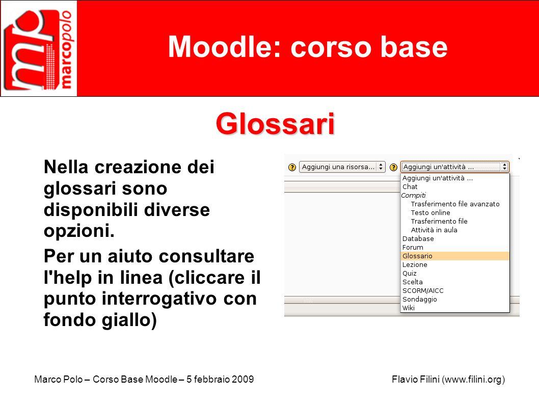 Moodle: corso base Glossari