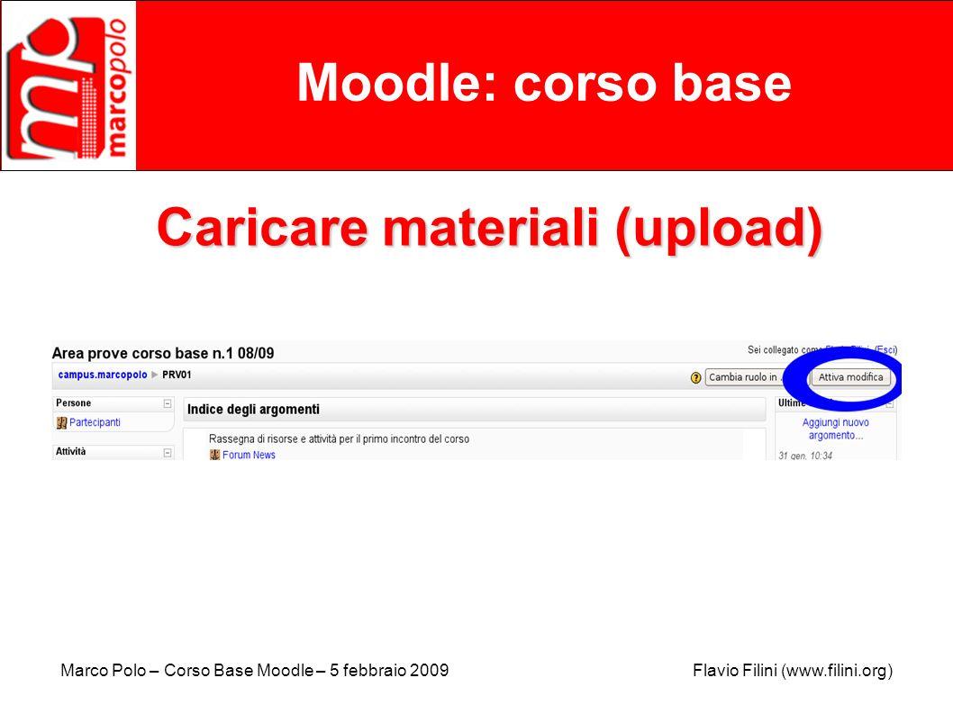 Caricare materiali (upload)