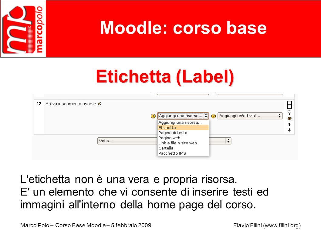 Moodle: corso base Etichetta (Label)