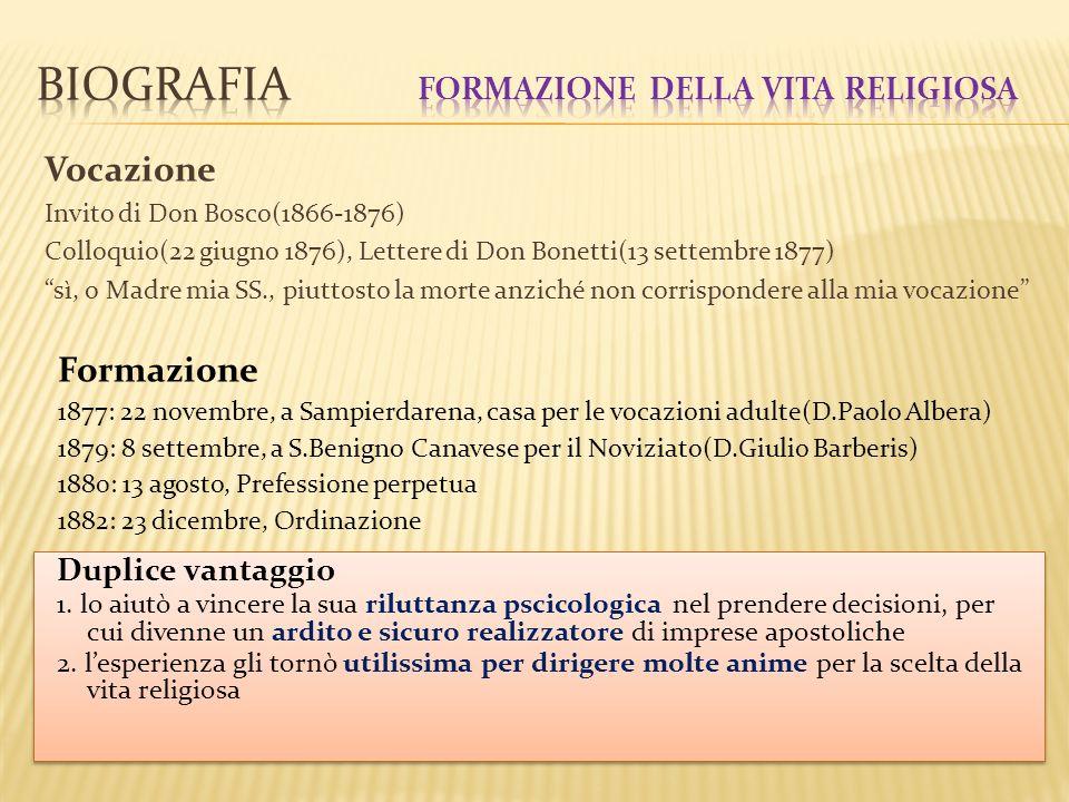 Biografia Formazione della vita religiosa