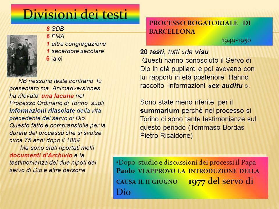 Divisioni dei testi PROCESSO ROGATORIALE DI BARCELLONA 1949-1950