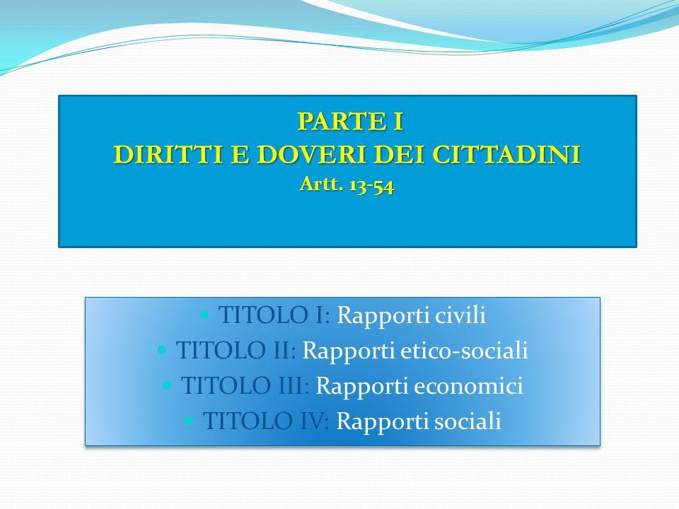 PARTE I DIRITTI E DOVERI DEI CITTADINI Artt. 13-54