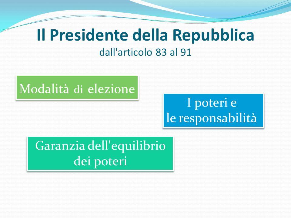 Il Presidente della Repubblica dall articolo 83 al 91