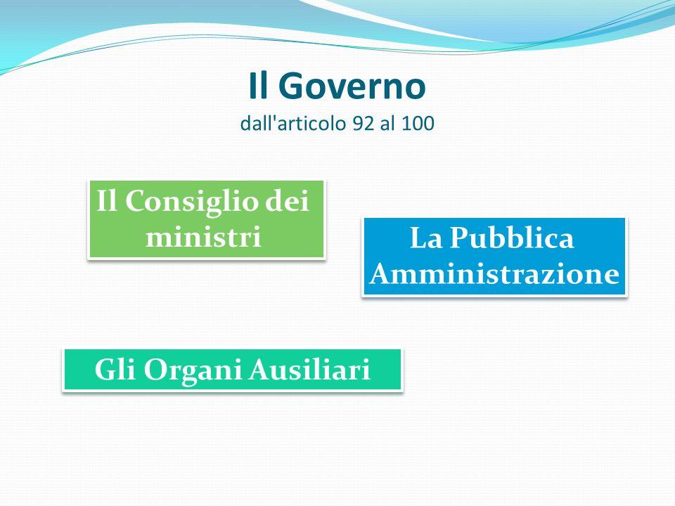 Il Governo dall articolo 92 al 100