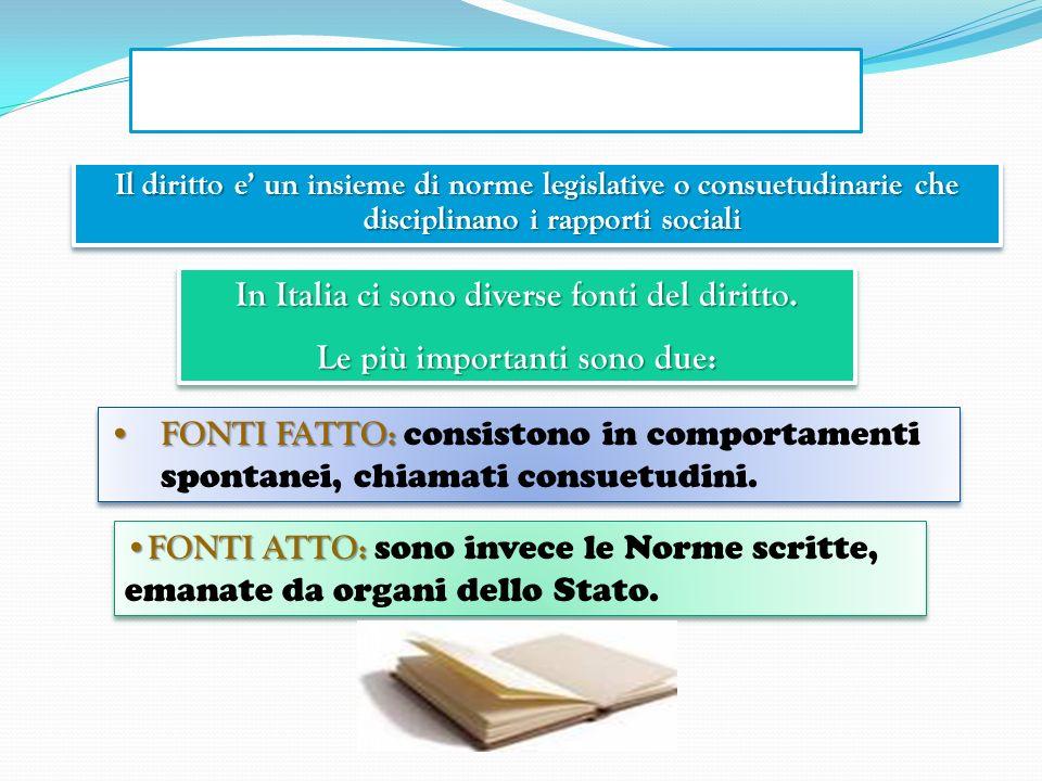 In Italia ci sono diverse fonti del diritto.