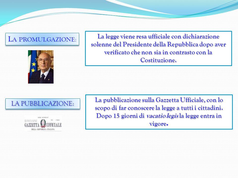 La legge viene resa ufficiale con dichiarazione solenne del Presidente della Repubblica dopo aver verificato che non sia in contrasto con la Costituzione.