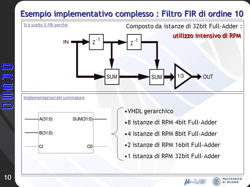 Esempio implementativo complesso : Filtro FIR di ordine 10