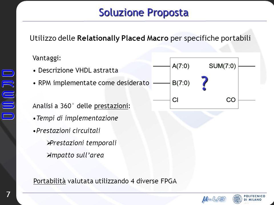 Soluzione Proposta Utilizzo delle Relationally Placed Macro per specifiche portabili. Vantaggi: Descrizione VHDL astratta.