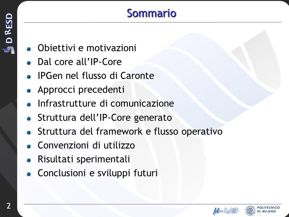 Sommario Obiettivi e motivazioni Dal core all'IP-Core