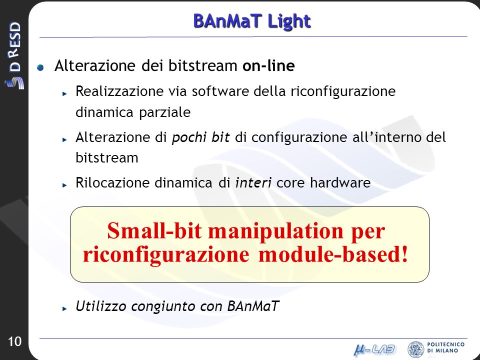 Small-bit manipulation per riconfigurazione module-based!