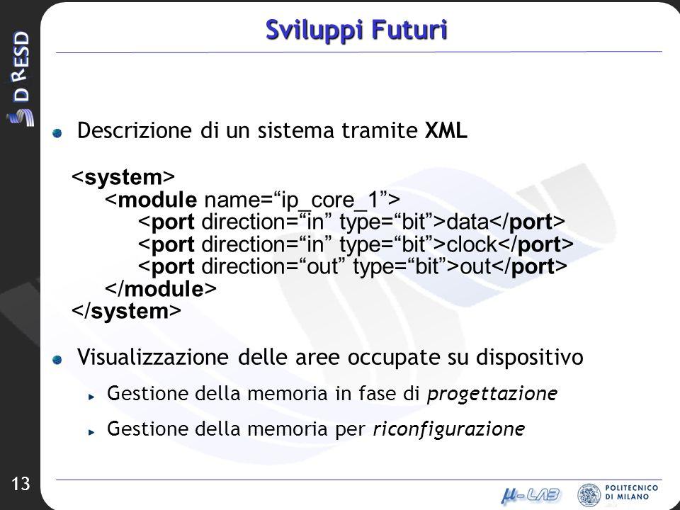 Sviluppi Futuri Descrizione di un sistema tramite XML <system>