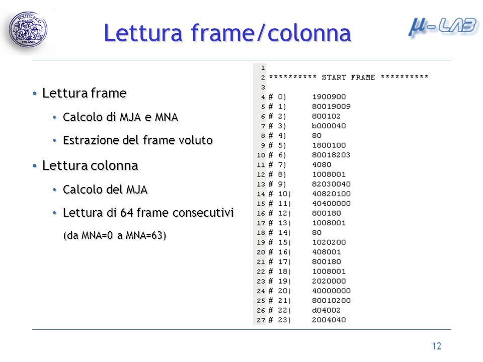 Lettura frame/colonna