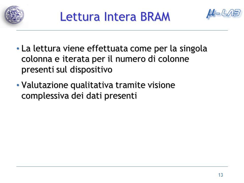 Lettura Intera BRAM La lettura viene effettuata come per la singola colonna e iterata per il numero di colonne presenti sul dispositivo.