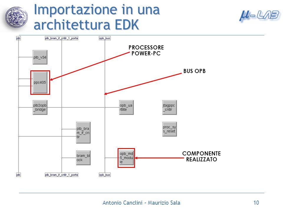 Importazione in una architettura EDK