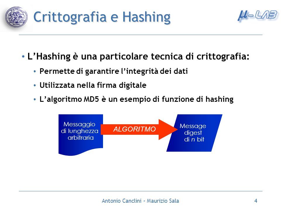 Crittografia e Hashing