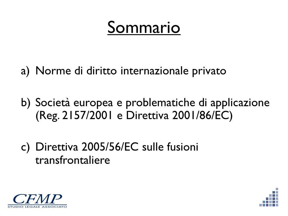 Sommario Norme di diritto internazionale privato