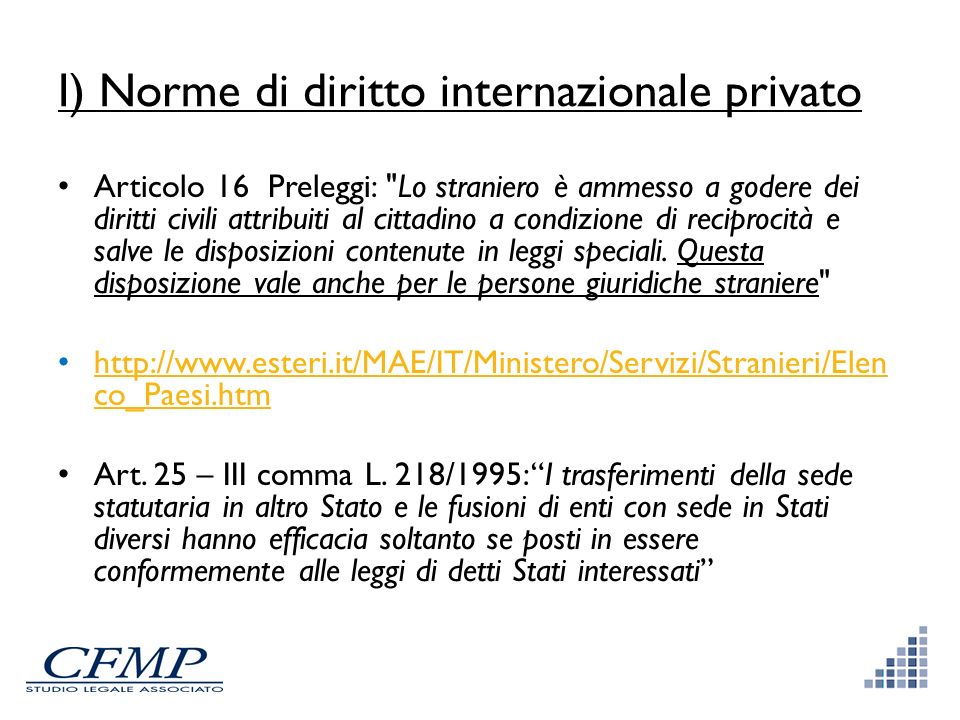 I) Norme di diritto internazionale privato