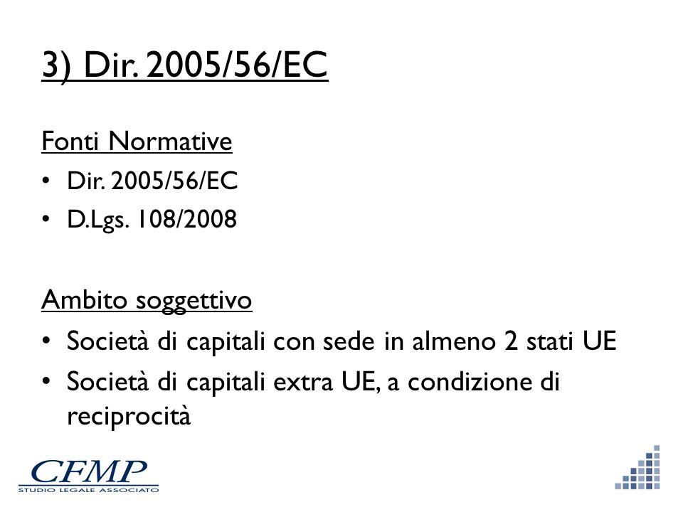3) Dir. 2005/56/EC Fonti Normative Ambito soggettivo