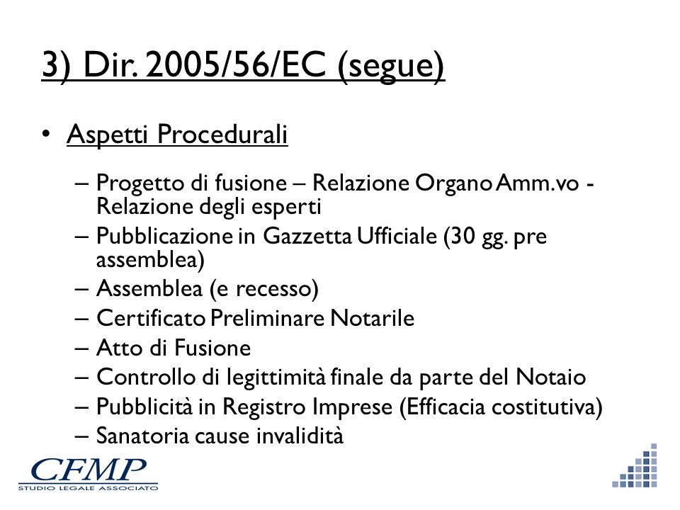 3) Dir. 2005/56/EC (segue) Aspetti Procedurali