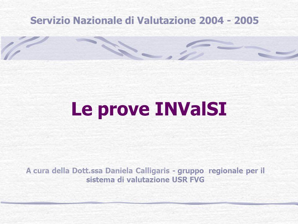 Le prove INValSI Servizio Nazionale di Valutazione 2004 - 2005