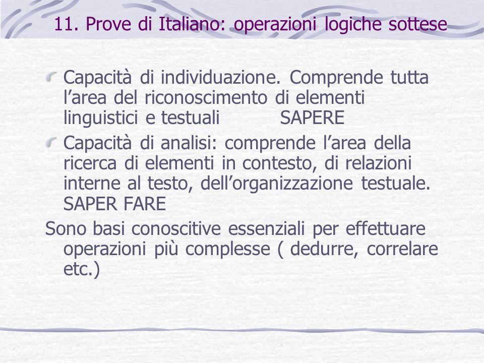 11. Prove di Italiano: operazioni logiche sottese