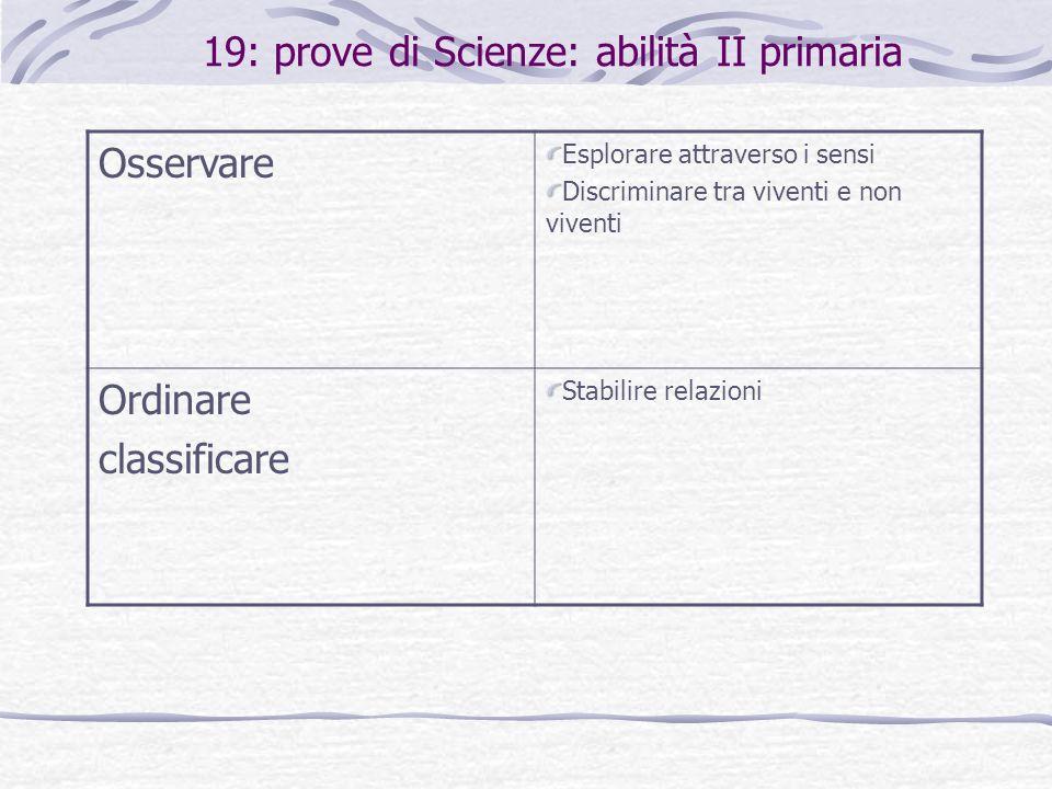 19: prove di Scienze: abilità II primaria