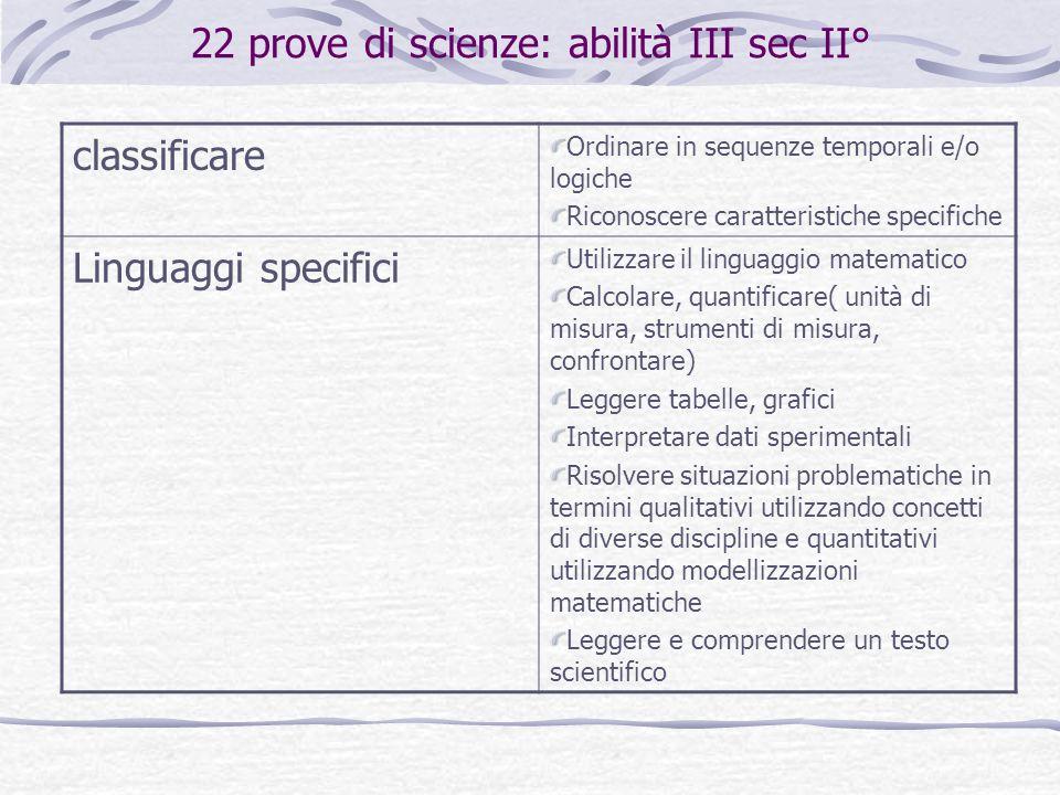 22 prove di scienze: abilità III sec II°