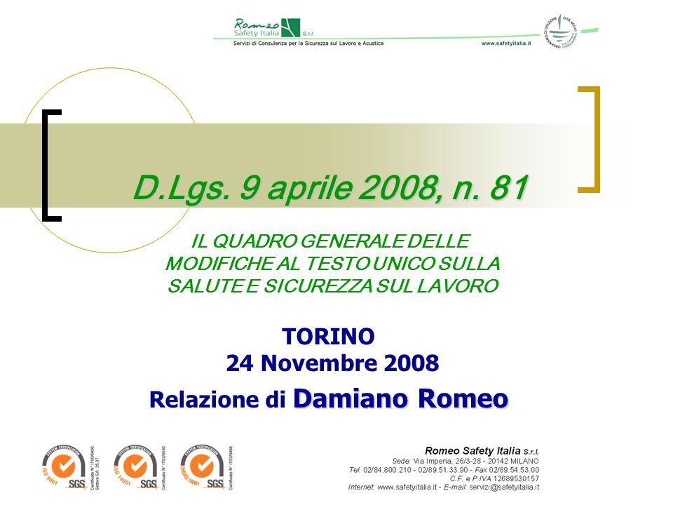 D.Lgs. 9 aprile 2008, n.