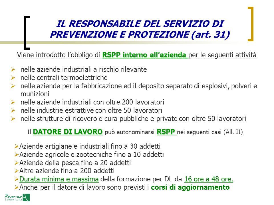 IL RESPONSABILE DEL SERVIZIO DI PREVENZIONE E PROTEZIONE (art. 31)