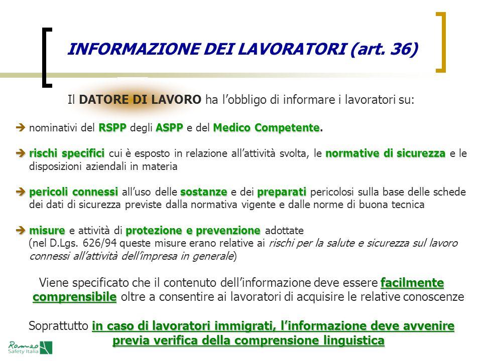 INFORMAZIONE DEI LAVORATORI (art. 36)