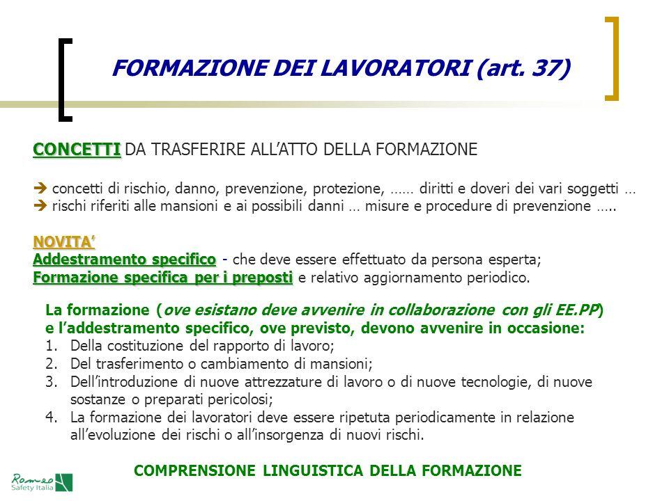 FORMAZIONE DEI LAVORATORI (art. 37)