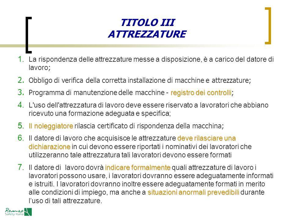 TITOLO III ATTREZZATURE